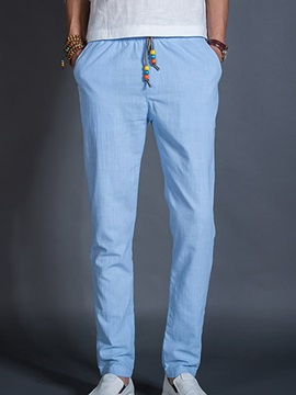 Solid Color Lace Up Men's Tapered Casual Pants
