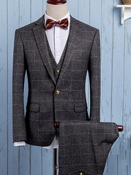 Mid-Plaid Three Pieces Men's Dress Suit
