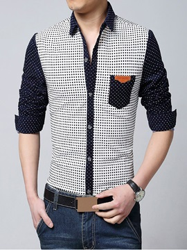 Color Block Dots Design Men's Casual Shirt