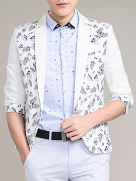Leave Printed Color Block Men's Blazer