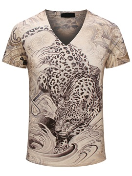 Leopard Printed V-Neck Men's Short Sleeve T-Shirt