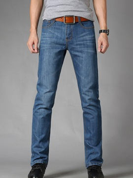 Straight Regular Fit Plain Men's Denim Pants