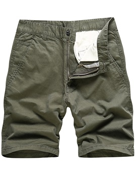 Solid Color Regular Fit Men's Casual Shorts