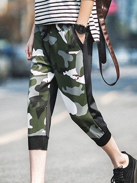 Camouflage Patched Men's Cropped Trousers