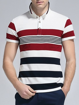 Wide Stripe Block Men's Short Sleeve Polo