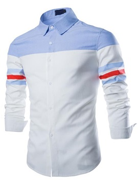 Colorful Stripe Color Block Men's Casual Shirt