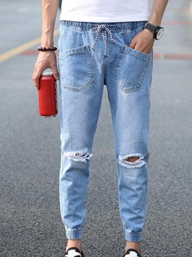 Lace-Up Elastics Men's Ripped Jeans