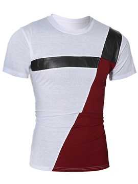 Patchwork Round Neck Men's Casual Tee