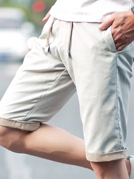 Linen Blends Roll-Cuff Men's Casual Shorts