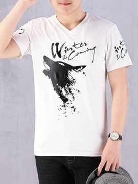 V-Neck Designed Letter Printed Men's Casual Tee