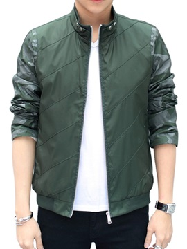 Stand Collar Men's Solid Color Jacket