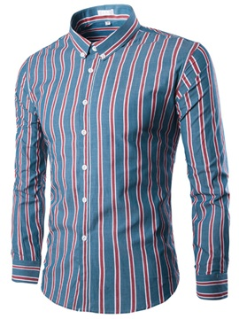 Vertical Stripe Color Block Men's Casual Shirt