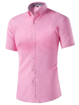 Short Sleeve Men's Solid Color Dress Shirt