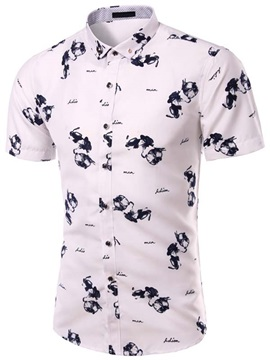 Short Sleeve Single-Breasted Men's Floral Printed Shirt