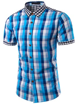 Plaid Cotton Blends Men's Single-Breasted Shirt