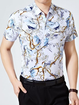 Floral Printed Short Sleeve Men's Slim Fit Shirt