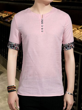 Floral Patch Linen Blends Men's T-Shirt