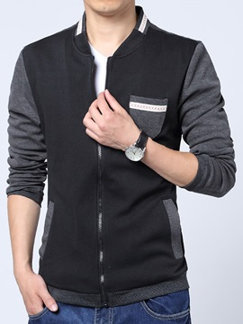 Patchwork Casual Men's Zipper Jacket