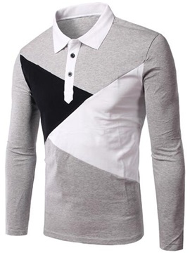 Patchwork Color Block Men's Long Sleeve Polo