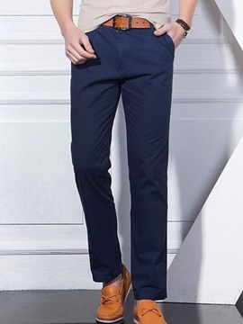 Plain Loose Fit Men's Straight Casual Pants