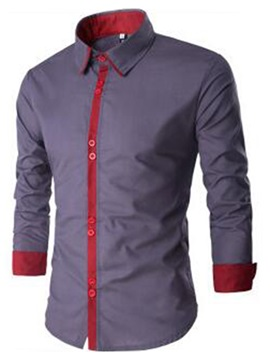 Color Block Vogue Button Men's Casual Shirt