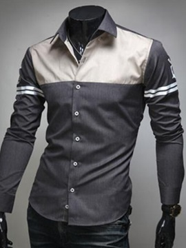 Color Block Stripe Men's Casual Shirt