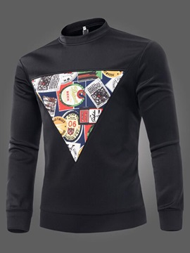 Front Print Stand Collar Men's Long Sleeve Hoodie