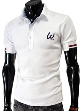 Casual Chest Print Men's Short Sleeve Polo