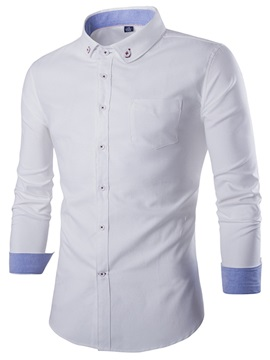 Oxford Single-Breasted Casual Men's Long Sleeve Shirt