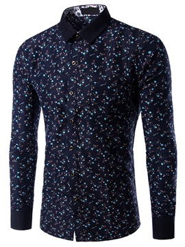 Long Sleeve Single-Breasted Men's Floral Shirt