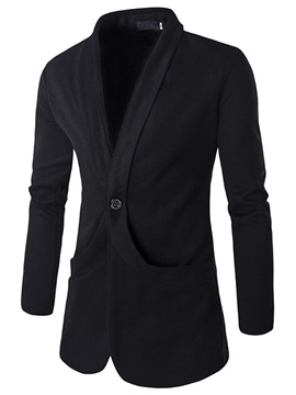 Vogue Turn Down Collar Single-Button Men's Knit Blazer