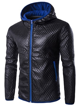 PU Full-Length Zippered Men's Jacket