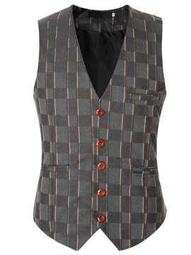 Single-Breasted Plaid Men's Dress Vest
