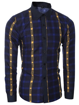 Unique Plaid Casual Men's Cotton Blends Shirt