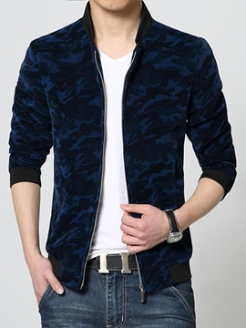 Camouflage Stand Collar Zipper Men's Casual Jacket