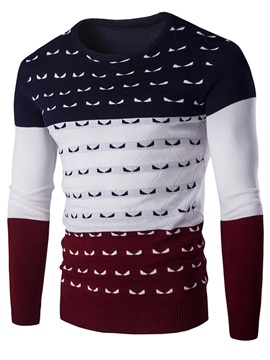 Color Block Crew-Neck Men's Sweater