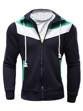 Color Block Drawstring Casual Men's Hoodie