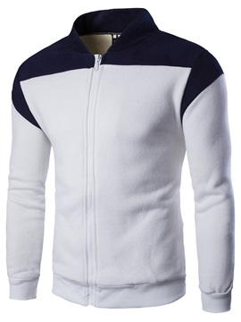 Color Block Stand Collar Casual Men's Hoodie