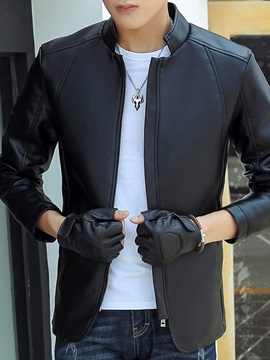 Zipper Stand Collar Men's Solid Color PU Jacket