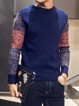 Round Neck Patchwork Men's Casual Sweater
