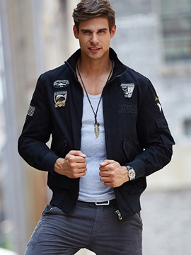 Embroidered Badges Outdoor Men's Zipper Casual Jacket