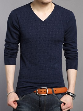 Heart-Shaped Neck Casual Men's Slim Fit Sweater
