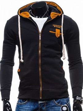 Zipper Slim Fit Casual Men's Cotton Blends Hoodie