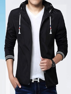 Hooded Zipper Slim Fit Men's Color Block Jacket