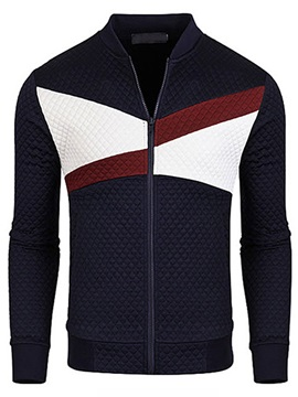Color Block Stand Collar Men's Zipper Jacket