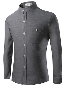 Stand Collar Single-Breasted Men's Casual Shirt