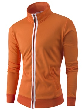 Stand Collar Color Block Men's Casual Hoodie