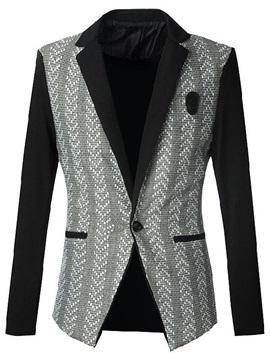 Vogue Print Single-Button Men's Lapel Blazer