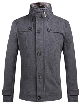 Stand Collar Single-Breasted Men's Casual Thicken Jacket