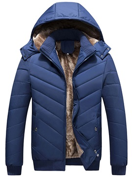 Solid Color Hooded Zipper Men's Thicken Down Jacket